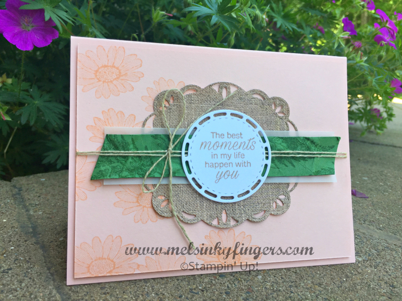 Daisy Lane and Stitched Label dies combine for a beautiful card!