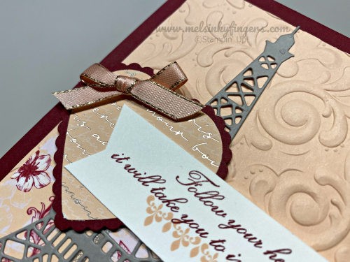 The champagne foil accents on the Parisian Blossoms designer paper are gorgeous!