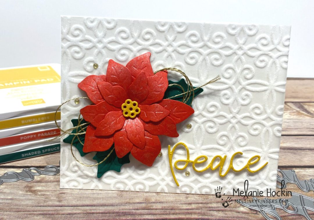 Poinsettia card created with Poinsettia Dies, Plush Poinsettia Specialty Paper, and Joy Dies