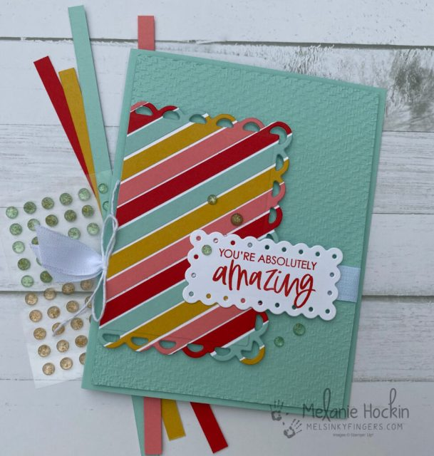 Card showing strips to make the custom strip background.  Card design by Melanie Hockin of Mel's Inky Fingers.