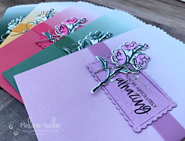 In Color Ombre Gift Bags made with the Ombre Gift Bags, In Color Shimmery Vellum, and Color & Contour Bundle for the Luv 2 Stamp Annual Catalog Blog Hop.  Project originally designed by Melanie Hockin of Mel's Inky Fingers for the Luv 2 Stamp Annual Catalog Inspirational Blog Hop.
