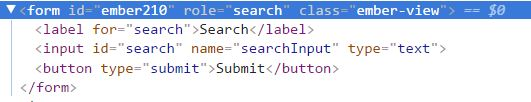 screenshot of rendered html of a form element with the search role