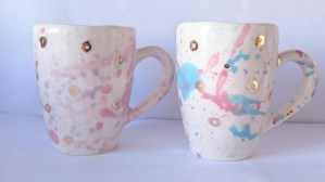 pink and gold mugs