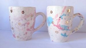 pink and gold mugs