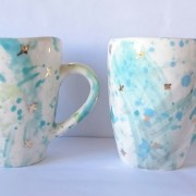 blue and gold mugs