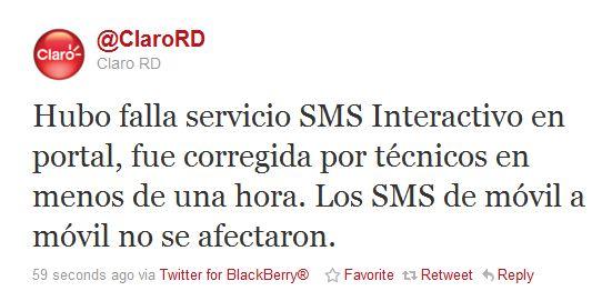 Mensaje de Claro en Twitter #ClaroGate