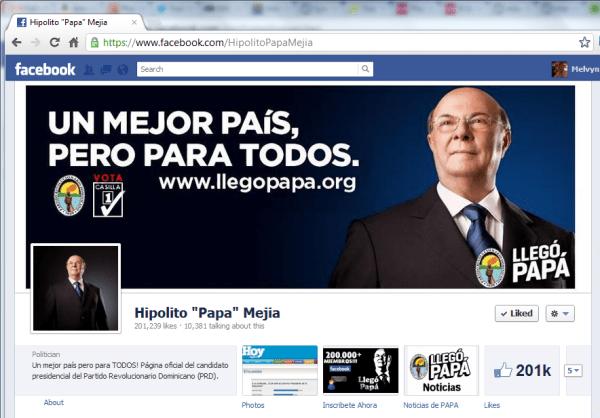 Hipólito Mejía alcanza 200 mil seguidores en Facebook