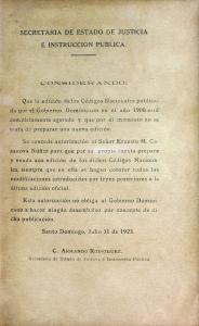 Código Civil de la República Dominicana. Edición 1923, reimpresión de 1930, página 3