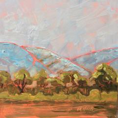 "Melwell Romancito, ""Across the Valley, II"" oil on claybord, 6x6"