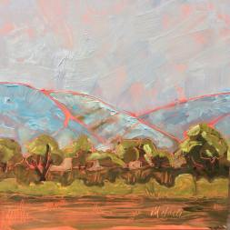 """Melwell Romancito, """"Across the Valley, II"""" oil on claybord, 6x6"""