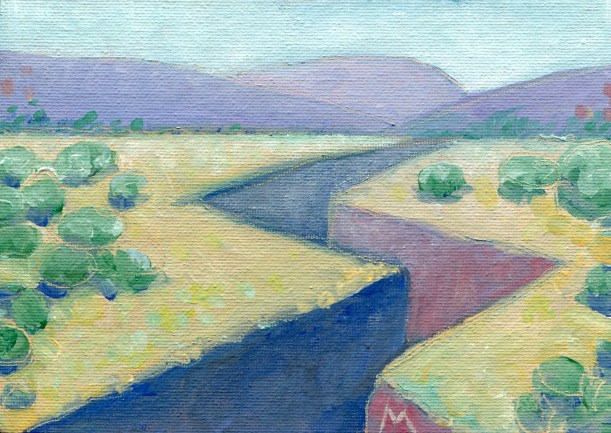 "Melwell Romancito, ""Purple Canyon,"" oil on canvas board, 5x7"