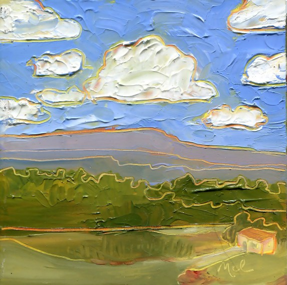 """""""Fair Weather,"""" Melwell Romancito, oil on panel, 4x4"""