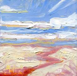 """Crimson Arroyo,"" Melwell Romancito, oil on panel, 4x4"
