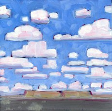 """Change Clouds,"" oil on claybord by Melwell Romancito, 6x6"