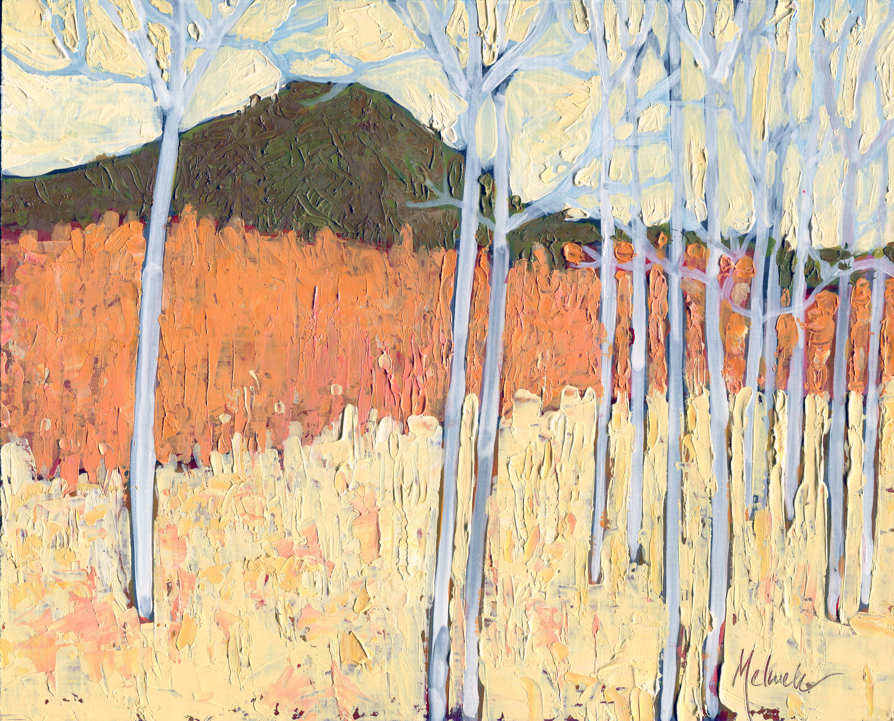"""""""Aspen Meadow I,"""" oil on panel by Melwell Romancito, 8x10"""