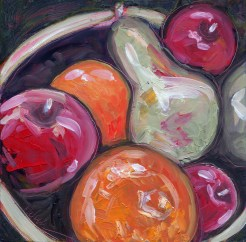 """Apples, Oranges and Pears,"" oil on clay bord by Melwell Romancito, 6x6"