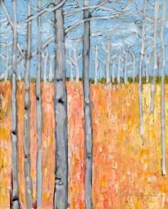 """Aspens' Edge II,"" oil on panel by Melwell Romancito, 8x10"