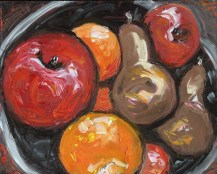 """""""Bowl of Fruit,"""" oil on panel by Melwell Romancito, 8x10"""