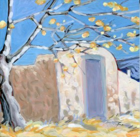 """""""Old Spanish Gate,"""" oil on panel by Melwell Romancito, 6 x 6"""