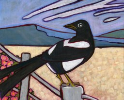 """""""Magpie,"""" oil on panel by Melwell Romancito, 8x10"""