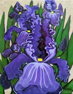 """Big Purple Iris Patch,"" oil on canvas by Melwell Romancito, 16x20"
