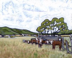 """Cows of Ranchitos,"" oil on panel by Melwell Romancito, 8x10"
