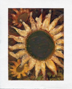 """Summer Sunflowers,"" oil on canvas paper by Melwell Romancito, 8x10"