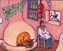 """""""La Cocinera,"""" oil on linen panel by Melwell, 8x10"""