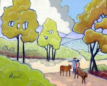 """""""Noon at the Crossroads,"""" oil on wooden panel by Melwell, 8x10"""