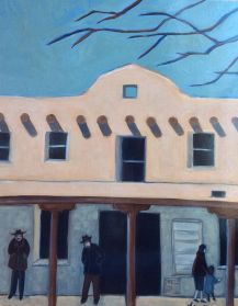 """"""" Old Taos County Courthouse,"""" oil on wooden panel by Melwell, 20x16"""