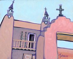 """""""The Church at Las Trampas,"""" oil on cradled wood by Melwell, 8x10"""