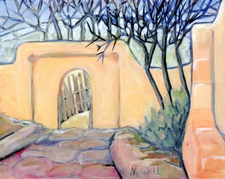 """""""Empty Courtyard I,"""" oil on panel by Melwell 8x10"""