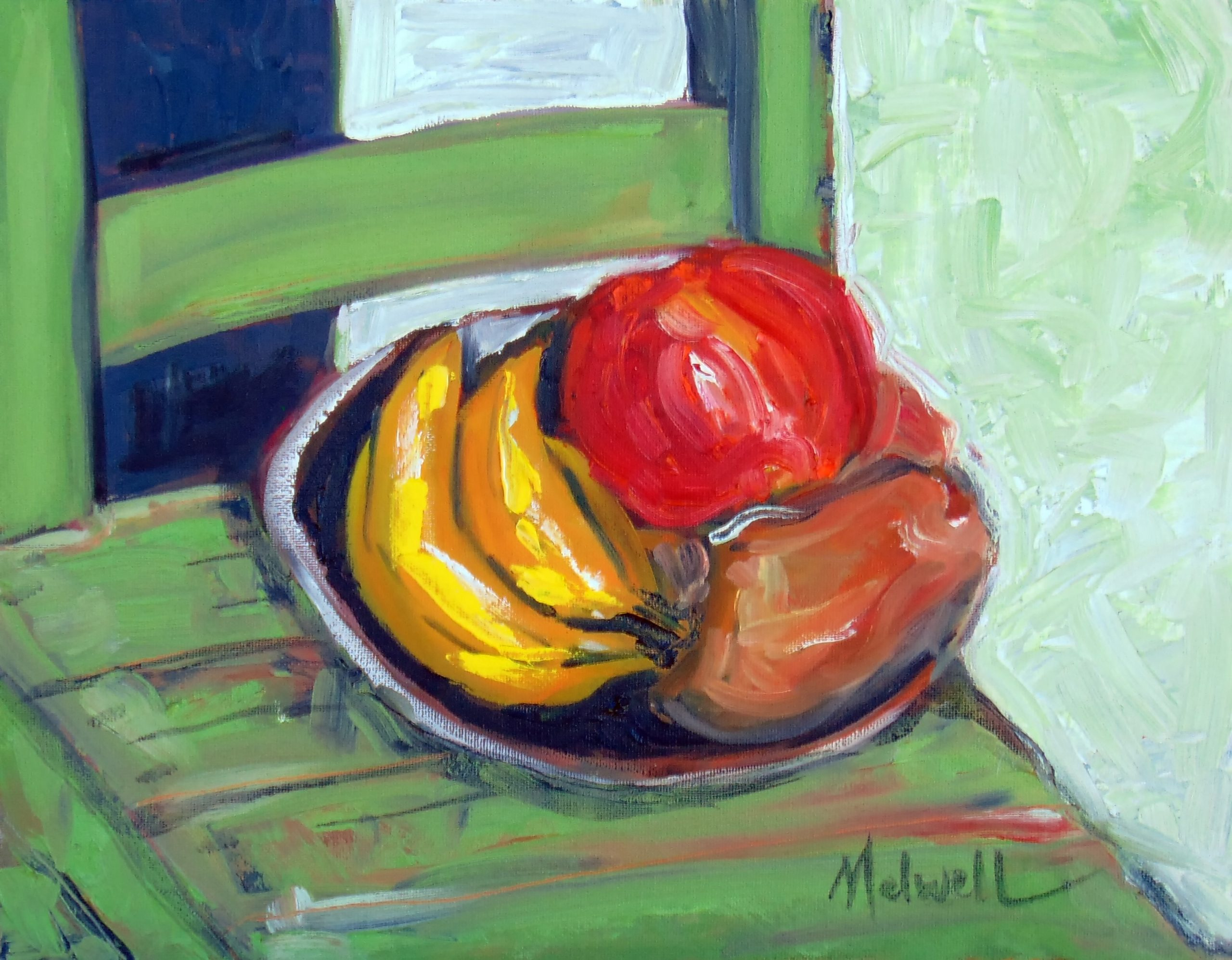 """""""Softening Fruit,"""" oil on canvas penel by Melwell, 11x14"""
