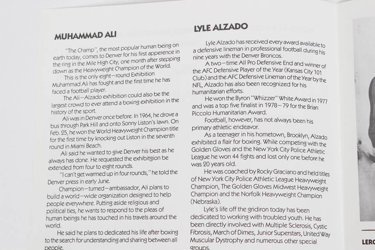 Muhammad Ali Vs Lyle Alzado (11 by 8 1/4) Fight Program