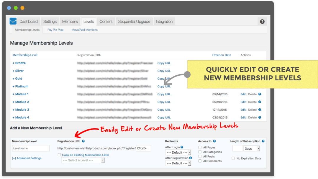 Manage Membership Levels