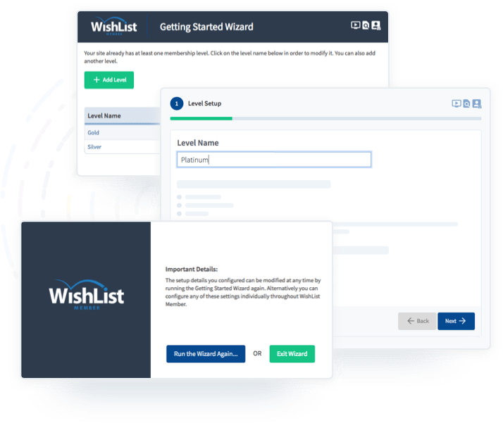 8f5c201bf7a92 Get your membership site up and running in minutes with our easy-to-use  Getting Started Wizard.