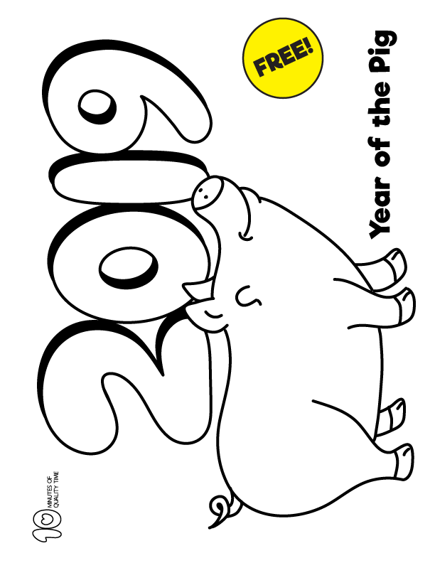 Chinese Year of the Pig Coloring Page