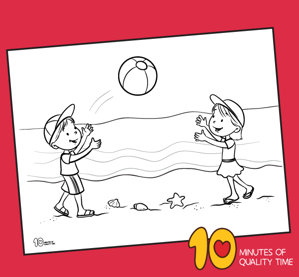 Kids Playing Ball On The Beach Coloring Page 10 Minutes Of Quality Time