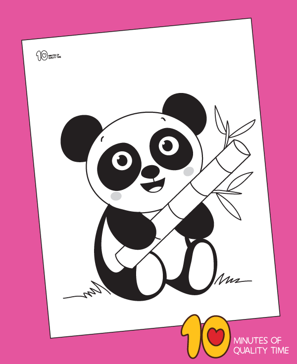 Panda Holding Bamboo Leaf Coloring Page 10 Minutes Of Quality Time