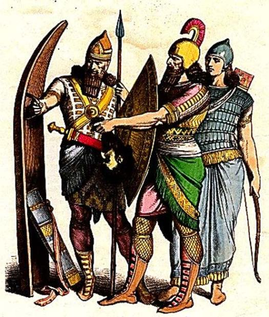 Assyrian Soldier with Standing Shield, Soldier with Small Shield, Archer.