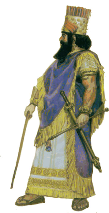 Illustration of a Babylonian/Assyrian king.