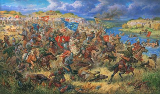 The Battle of Blue Waters between the armies of Lithuania and the Golden Horde in 1362.