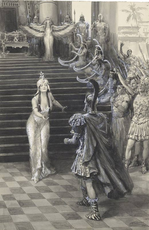 Cleopatra greets Antony. She assists his war against Parthia.