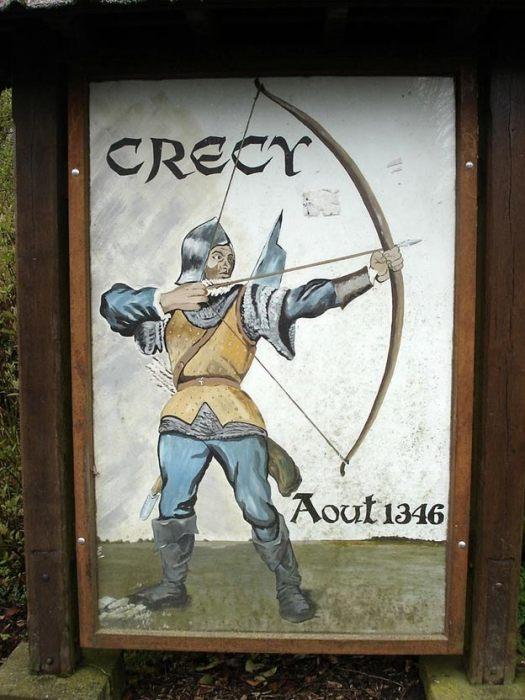 Village sign at Crécy-en-Ponthieu, Picardy commemorating the Battle of Crécy, 26 August 1346.