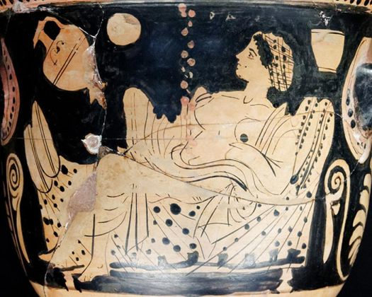 Danaë and a shower of gold, representing god Zeus visiting and impregnating Danaë.