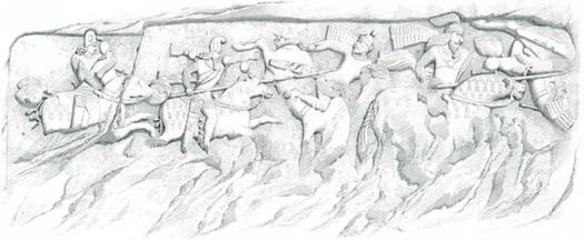 Drawing of French orientalist painter and traveler Eugene Flandin (1840): Sasanian king Ardachir Babakan's rock relief (Firuzabad 1), Scene showing an equestrian victory over Parthian king Artabanus V, province of Fars, Iran.