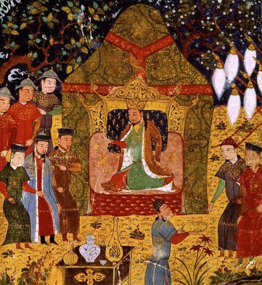 Genghis Khan seated in the center in tent and his attendants, sons, and generals surrounding.