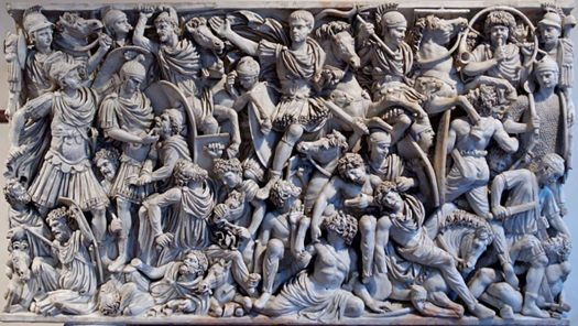 """Grande Ludovisi"" sarcophagus, with battle scene between Roman soldiers and Goths."