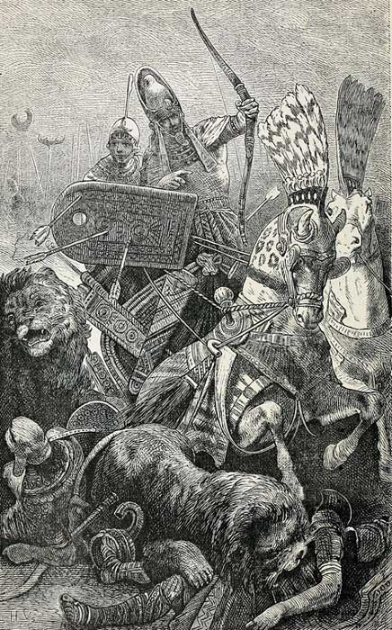 Illustration, The great Ramses II in the Battle of Khadesh