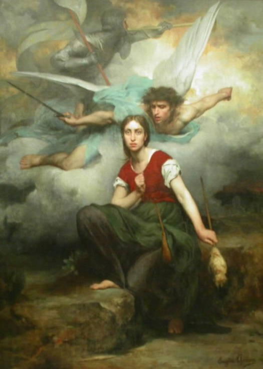 Jeanne d'Arc, by Eugène Thirion (1876). The portrait depicts Joan of Arc's awe upon receiving a vision from the Archangel Michael.